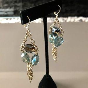 Gold Blue & Topaz Dangle Earrings